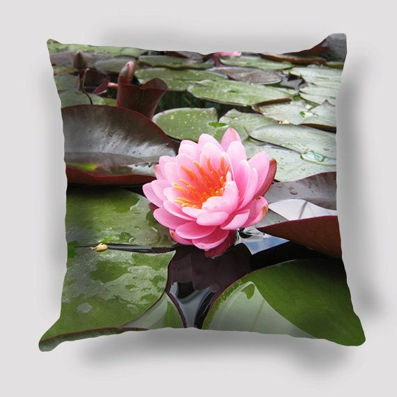 Waterlily Pillow  Cover, Nature photography, Flower Pillow, Floral Art, Floral Decor, Spring, Pastel Botanical Print