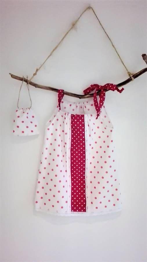 LuJo / Dievčenské bavlnené šaty s vreckom na tajomstvá- cyklámenová bodka
