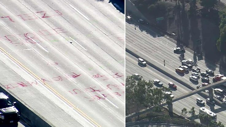 A group of Black Lives Matter protesters briefly shut down the southbound 405 Freeway in Inglewood Wednesday afternoon.