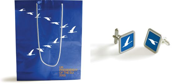 UK presidency (2005 H2) - Bag & cufflinks (by johnson banks)