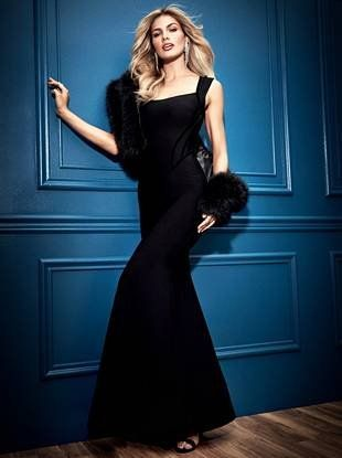 This glamorous gown is fit for the most luxurious events complete with a bandage construction, velour trim and a flared skirt | MARCIANO.com