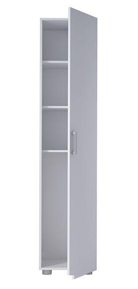 Armario despensero alto de melamina con acabado blanco. Incluye 1 puerta y 3 baldas. Medidas : 40 x 180 x 42 cm (ancho x alto x fondo).