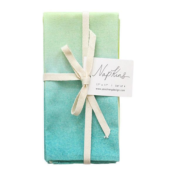 Mint Wash Napkins, Set Of 4 - Contemporary - Napkins - by Yao Cheng... ❤ liked on Polyvore featuring home, kitchen & dining and table linens