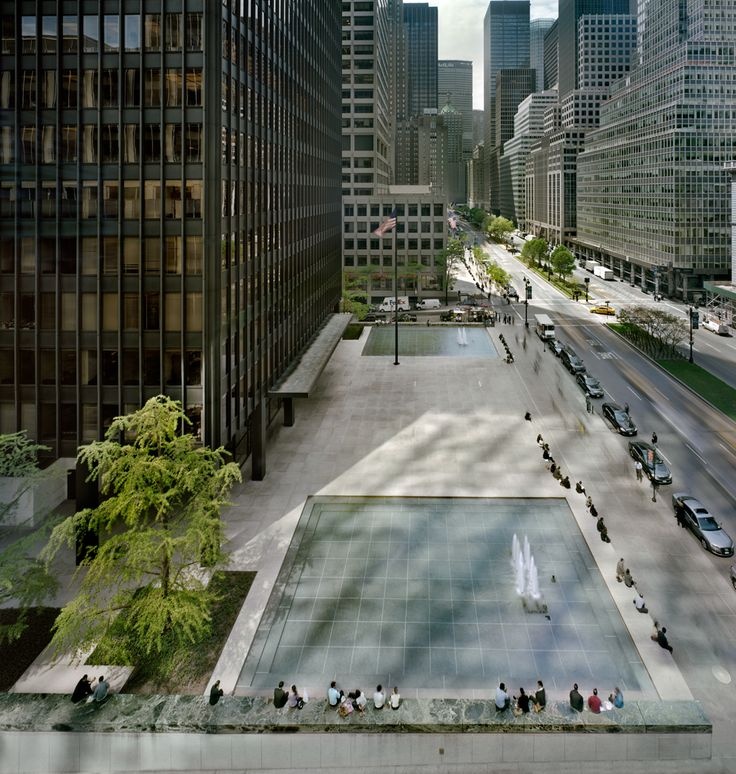 Two water surfaces enhance value of the square in front of the Seagram Building. Photo: © Richard Pare. Seagram Building, Park Avenue, New York by Ludwig Mies van der Rohe completed in 1958.