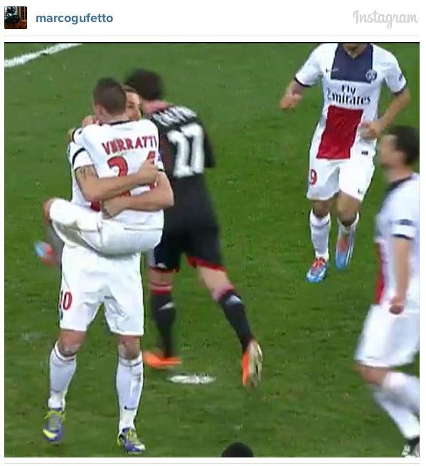 Marco Verratti sautant dans les bras de Zlatan (Instagram) | Marco verratti. Image foot. Sportif