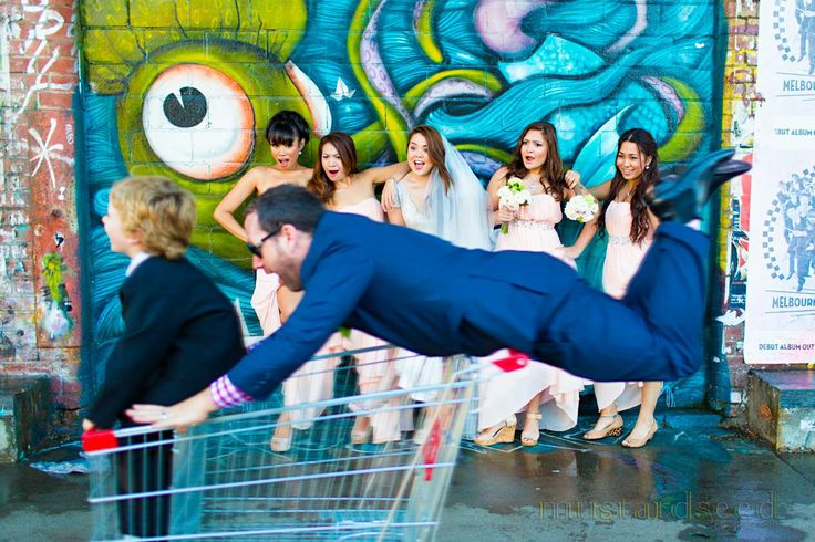 How I love it when the bridal party is having fun!!! That's the groom and the ring bearer on the trolley!