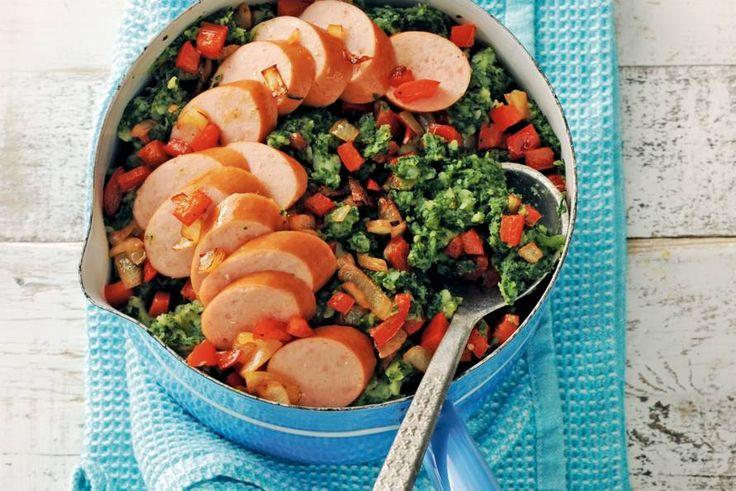 4 januari - Rode paprika + Unox rookworst + boerenkool + iets kruimige aardappelen = een lekkere #bonusmaandag - Recept - Allerhande