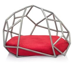 Mod Petlife is proud to present the captivating aesthetics and cutting edge modern design of Superfine Pet's Luxury Products. Atomo's geometric spherical shape is handmade by piece, and then covered in transparent enamel. A stain-resistant removable microfiber cushion lies inside for your pet to lounge in luxury.