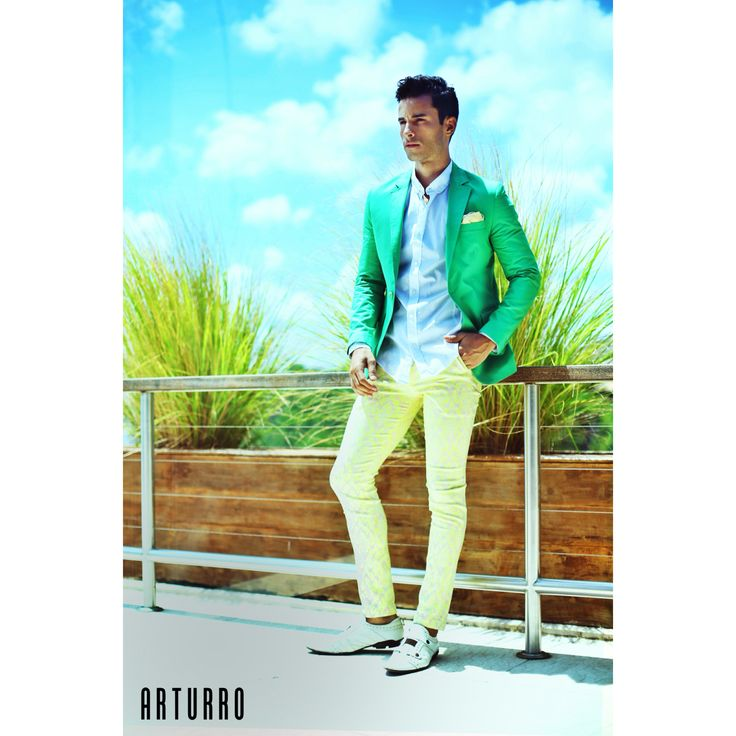 ARTURRO Men's Collection-Green Jacket, White Shirt & Yellow Printed Pants, #arturroeggo #arturrofashion #jacket #shirt #printedpants #resortwear #beachwear #bali #indonesia #mensfashion #mensoutfit #smartcasual, ARTURRO Boutique Jl. Kayu Aya no 18 Oberoi-Bali Indonesia