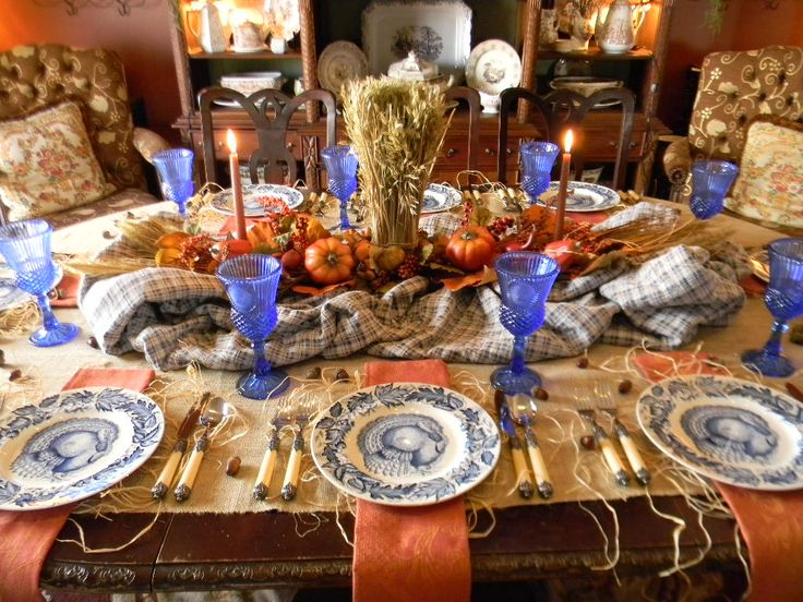 Love this table center arrangement. Nancy\u0027s Daily Dish Blue and Orange Thanksgiving Table \u0026 Documentary Released Tomorrow! & 29 best Tablescapes images on Pinterest | Table decorations ...