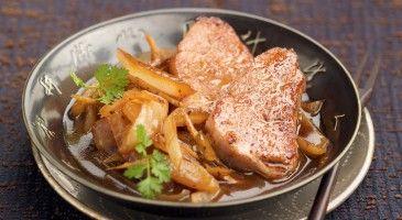 Filet mignon de porc sauté aux oignons, sublime !