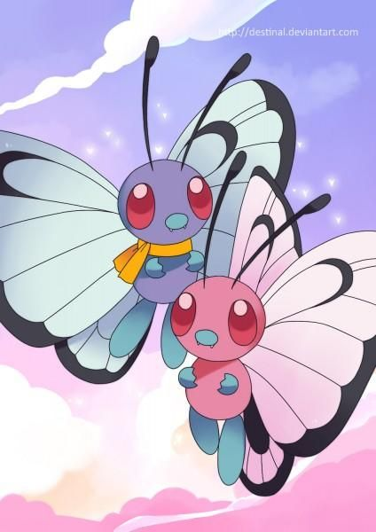 #Butterfree duo Poster by Crystal Ribbon, #Pokemon Dungeon fan artist of the month May 2017.