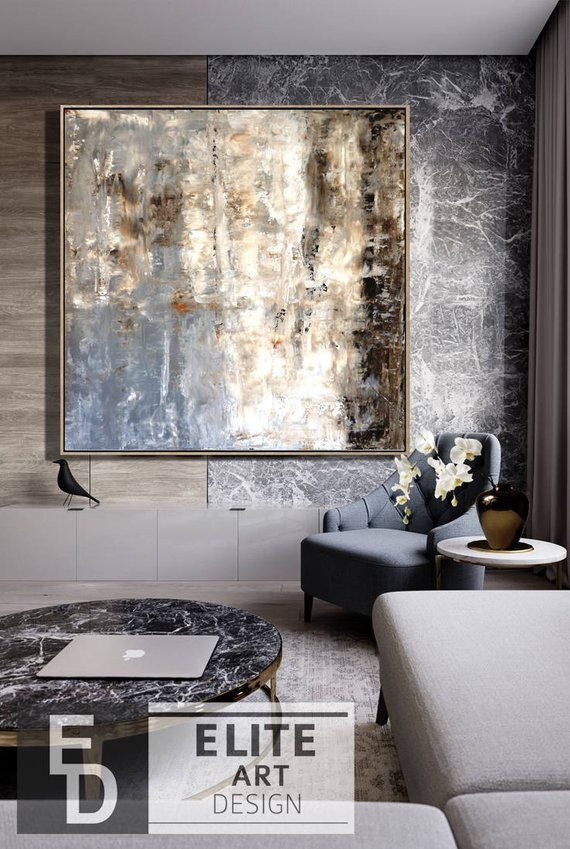 Navy Beige Art Brown Abstract Art Abstract Painting Silver Wall Art