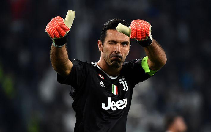 Download wallpapers Gianluigi Buffon, Juve, goalkeeper, footballers, Juventus, football stars, match, Italy, Serie A