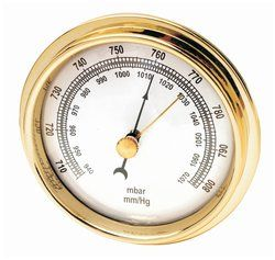 KIT:This dual scaled (940-1060 millibars and 700/800 millimeters) barometer features movable pointer, bold black markings in strong case, a keyhole mounting in the back, and easily read scales. Useful for predicting shifts in weather as predicted by local atmospheric pressure changes.