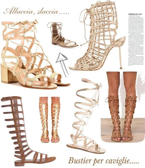 Lacci, fasce che si intrecciano, nastri...ecco l'ultimo must in tema di scarpe...i sandali che arrivano fino alla caviglia e oltre. Si chiamano gladiator o alla schiava che richiama l'immaginario collettivo di dei, muse e ninfee.