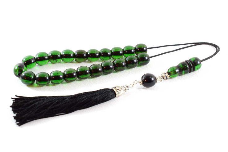 Emerald color Bakelite Beads Komboloi, Handmade Tassel, Worry Beads, Greek Komboloi, Stress Relief, Relaxation, Meditation, Gift for Him