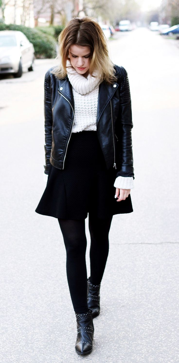 H&M leather jacket with turtleneck & studded boots