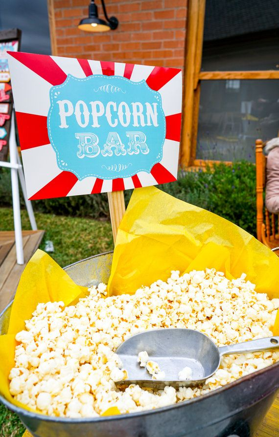 Popcorn Bar Printables – Popcorn Bar Sign – Carnival Signs – Instant Download and Edit File at home with Adobe Reader