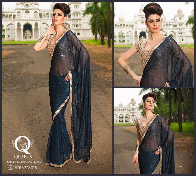 Put on the 'dazzling damsel' look with this beautiful black and gold Saree. Whatsapp us on +91 9769278015 or visit our online store on the link given below. http://bit.ly/QueensEmporium ‪#‎QueensEmporium‬ ‪#‎Sarees‬