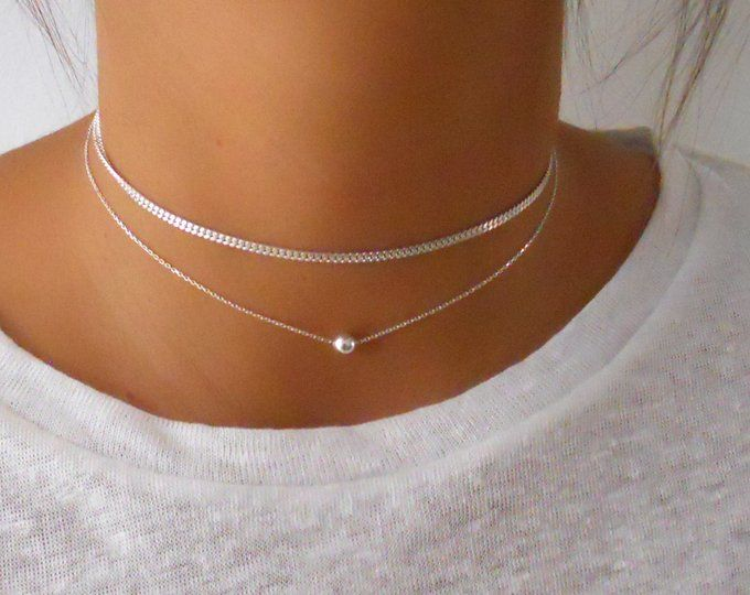 Petite dainty Pretty for layering 100/% Sterling Silver Heart Necklace//Choker