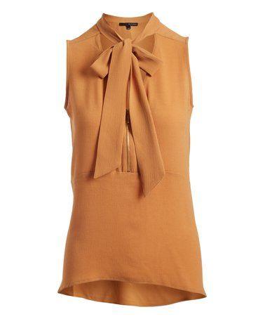 Look what I found on #zulily! Sundan Brown Tie-Accent Sleeveless Top #zulilyfinds