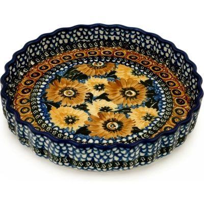 Polish Pottery 10-inch Fluted Pie Dish   Boleslawiec Stoneware   Polmedia H6836A