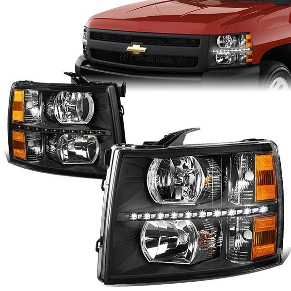 07 14 Chevy Silverado 1500 2500 3500 Hd Led Drl Headlights Black Housing Amber Corner In 2020 Chevy Silverado 1500 Chevy Silverado Silverado Headlights