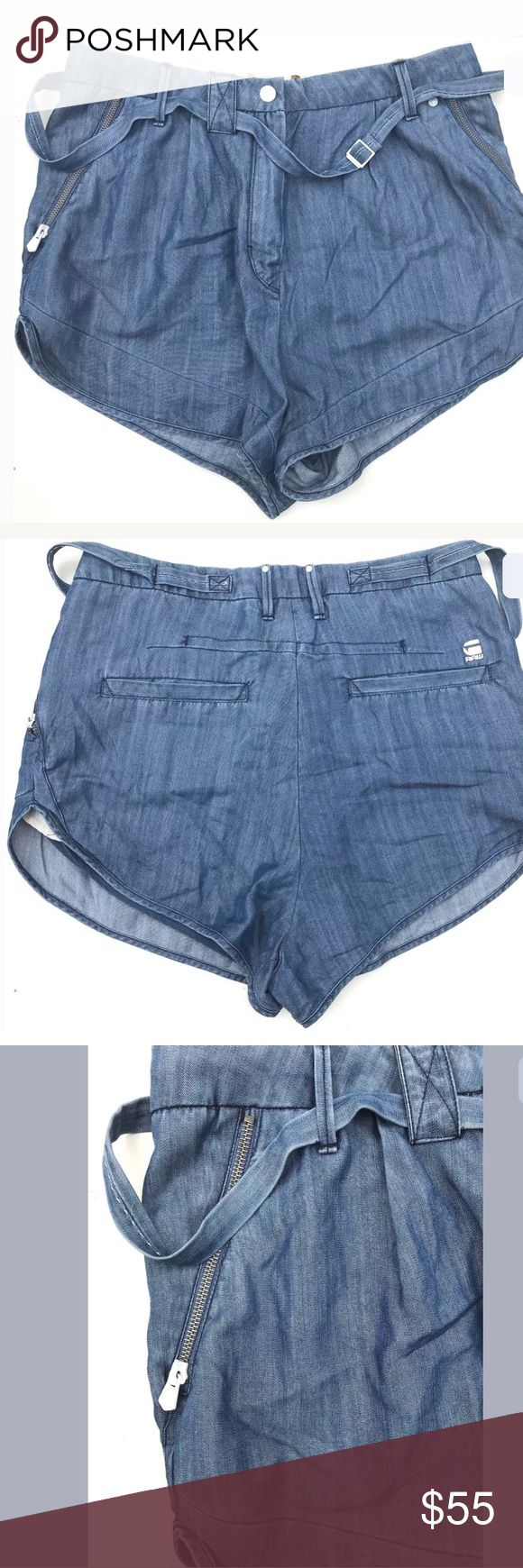 G-Star RAW  CL Belt shorts A classic cut and clean finish lend style to the  Mens Stunning G-Star Raw 'CL BELT.   Comfort arctic denim. Been worn just few times G-Star Shorts Jean Shorts