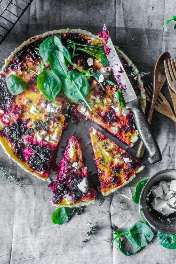 Beetroot and feta tart. VEGANIZE!! Looks so so good. Sub Feta with Almond feta.