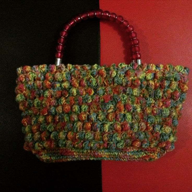 Rainbow Bobble stitch tote bag