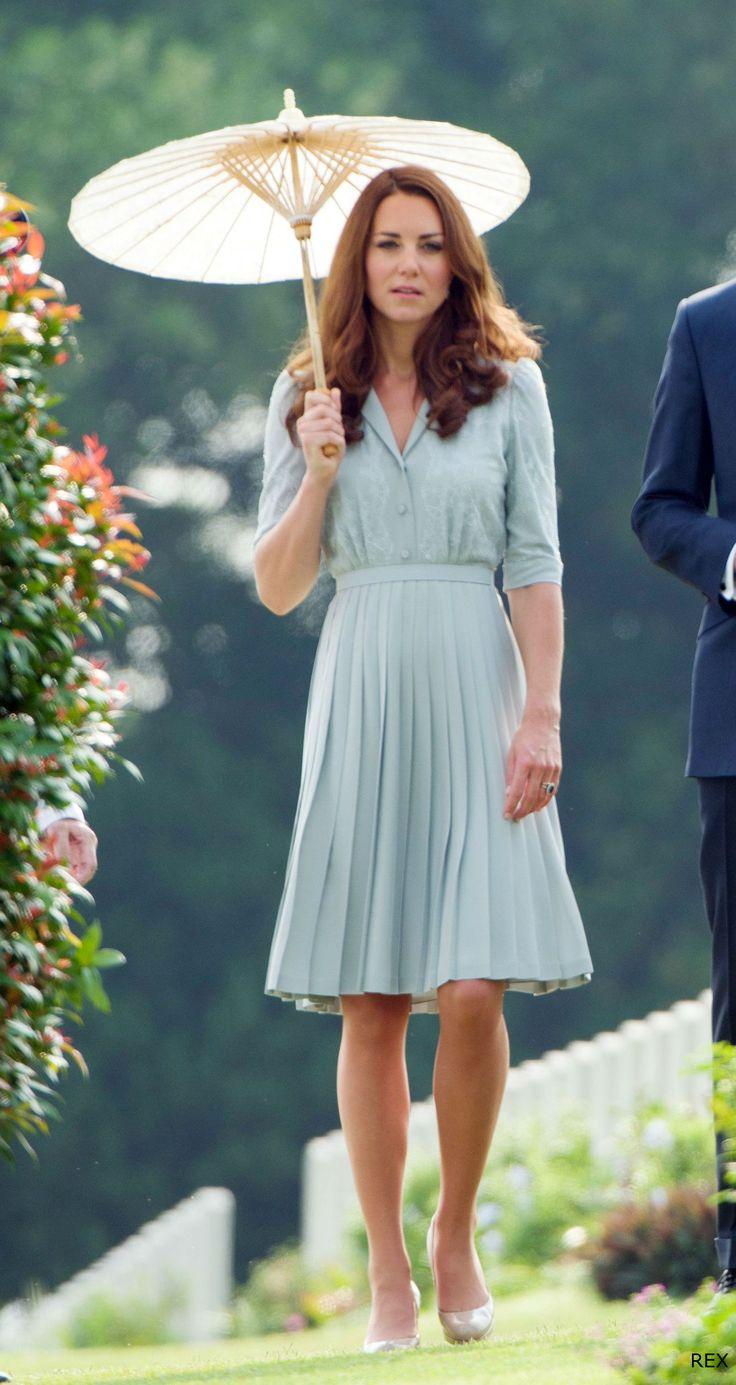 Kate - Jenny Packham Duck Egg Blue Dress - Kranji War Memorial - 13 Sep 2012