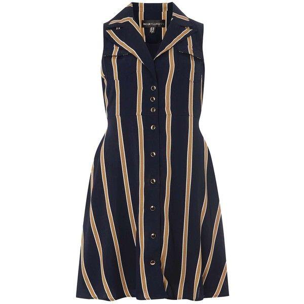 **Mela Navy Striped Shirt Dress (£36) ❤ liked on Polyvore featuring dresses, blue, navy dress, navy blue shirt dress, navy shirt dress, shirt dress and navy blue striped dress