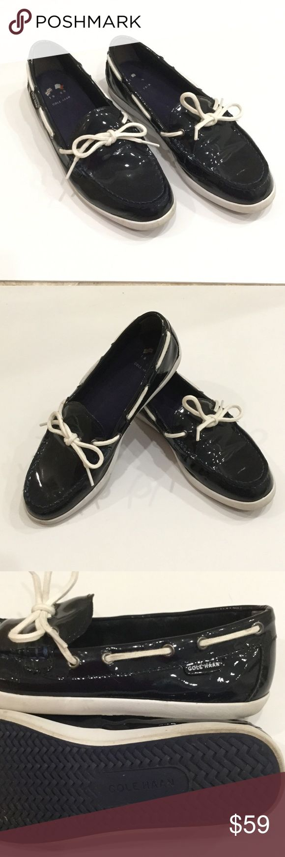 COLE HAAN navy patent boat shoe size 9 COLE HAAN navy patent boat shoe with white soles and laces. EUC. size 9 Cole Haan Shoes Flats & Loafers