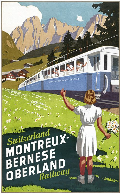 Switzerland Montreux-Bernese Oberland Railway. This vintage Swiss travel poster shows a girl waving at train passengers. Illustrated by Otto Baumberger, circa 1940. Prints from $15.