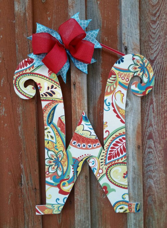 Front Door Letter Door Hanger Home Decor Alphabet Letter Paisley Door Hanger Birthday Gift Wall Decor Front Door Hanger