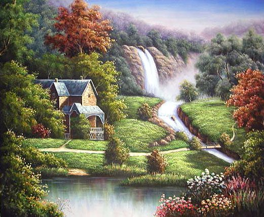 Realistic Oil Paintings Landscape Landscape Waterfall