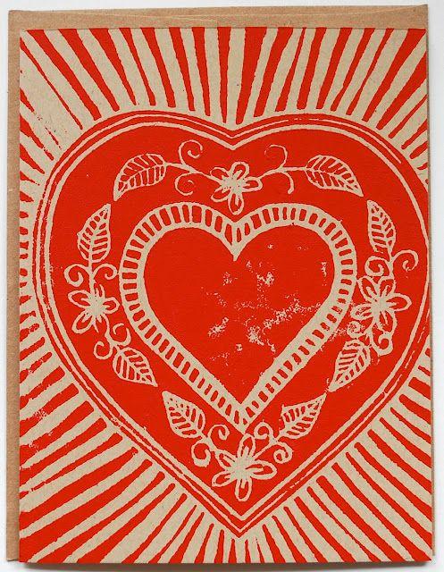 I Love Handmade: Single Hand Block Printed Valentine Card by Katharine Watson