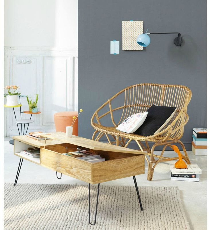 Nice coffee table with storage to organise (hide) papers/mails/magazines/stuff... // maisons-du-monde