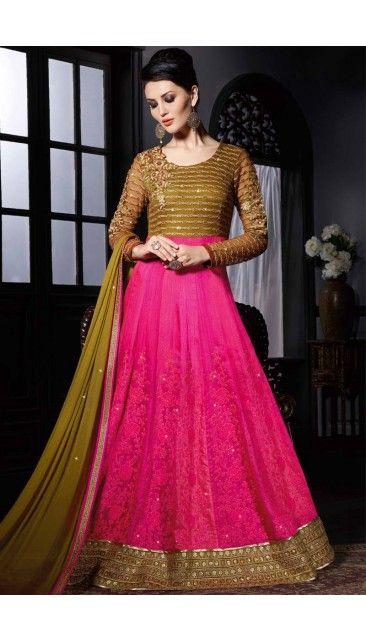 Pink Green German Silk Net Gown with Chiffon Dupatta - DMV14099