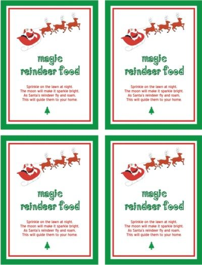 magic reindeer food poem printable