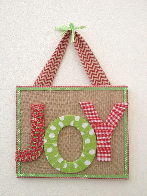 Joy Christmas Decoration burlap and fabric by PolkadotsOriginals
