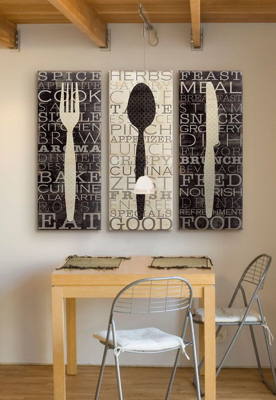 Serve up custom kitchen word art in your dining room alongside your favorite meals. Kitchen Word Trio III including fork, spoon, and knife kitchen wall art via @greatbigcanvas available at GreatBIGCanvas.com.