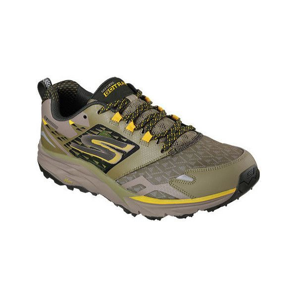 Men's Skechers GOtrail Running Shoe - Olive Athletic ($103) ❤ liked on Polyvore featuring men's fashion, men's shoes, men's athletic shoes, olive, mens running shoes, mens flats, men's low top shoes, mens shoes and skechers mens shoes