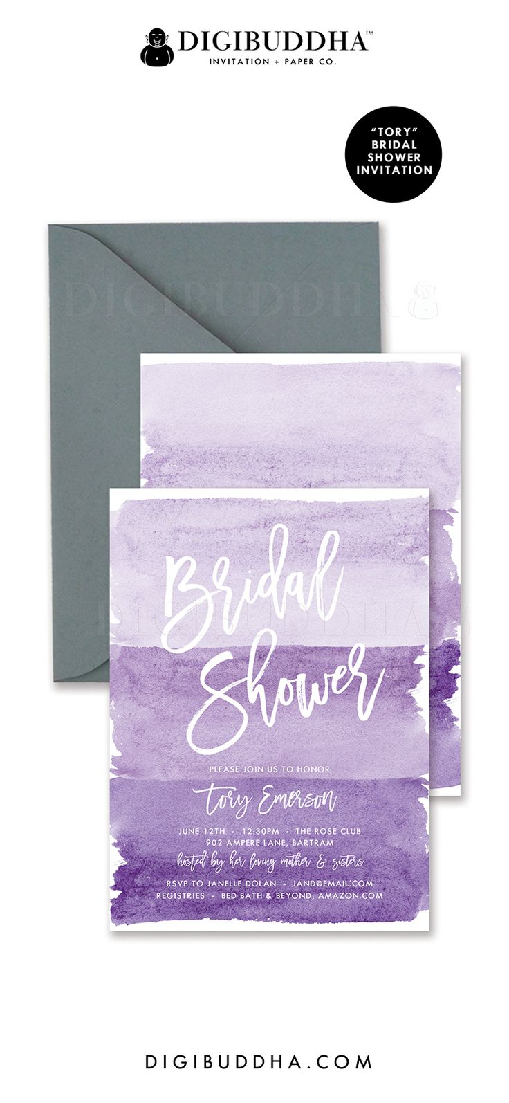 """Purple bridal shower invitations in ombre shades of soft pastel lilac, lavender, grape purple and deeper violet. """"Tory"""" style, watercolor details with hand lettered script typography. Coordinating envelope liners and smoke gray envelopes also available. Celebrate live, love, and babies with Digibuddha Invitation + Paper Co."""