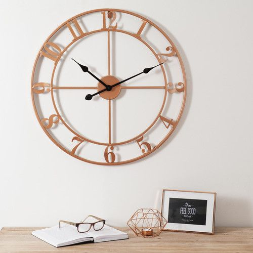 horloge en m tal cuivr copper maisons du monde. Black Bedroom Furniture Sets. Home Design Ideas