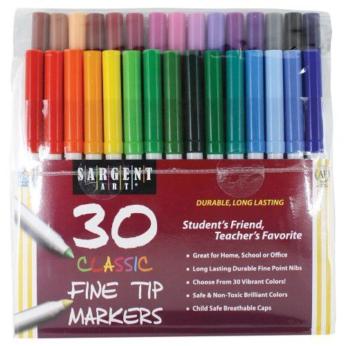 Sargent Art 22 1592 30 Count Classic Markers Fine Conical Tip Plastic Peggable