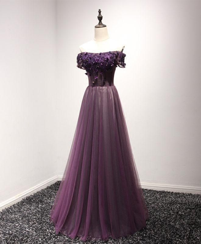 Cheap Wedding Dresses Raleigh Nc: Purple Tulle Off Shoulder Long Prom Dress, Purple Crystal