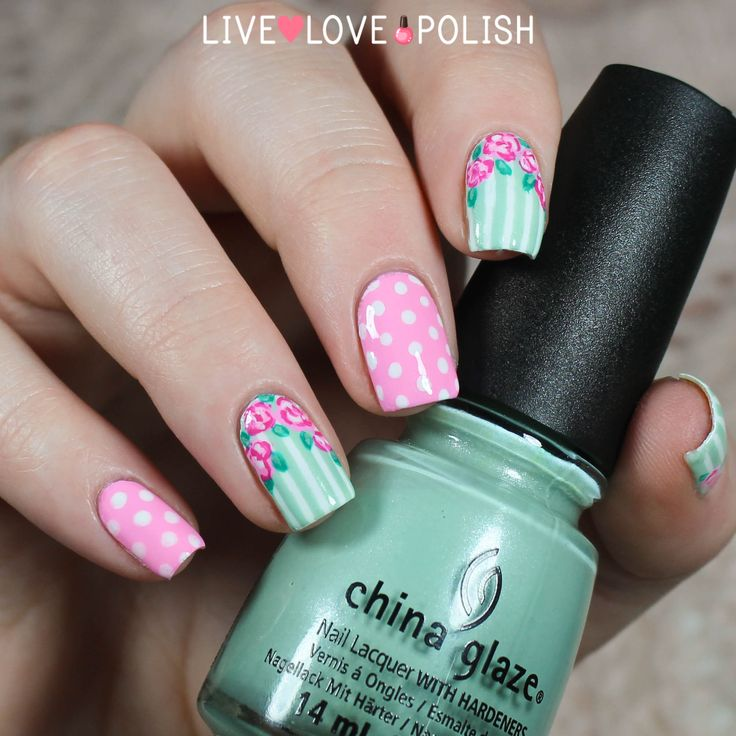 gorgeous pink and mint floral nails