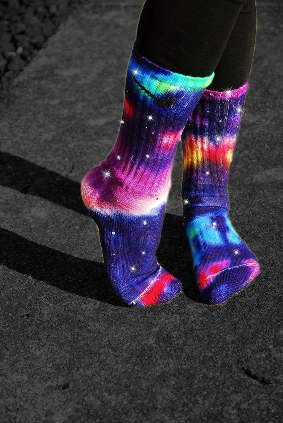 Star Bursts Galaxy Tie Dye Nike Socks by DardezLiberalFashion, $39.00